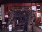 The rock fireplace built from gathered stones