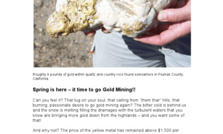 Spring Is Here, It's Time To Go Gold Mining!
