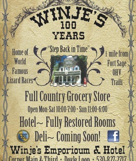 Winje's Emporium & Hotel Doyle Ca 530-827-2717 Lodging Country Store Deli WebDirecting.Biz