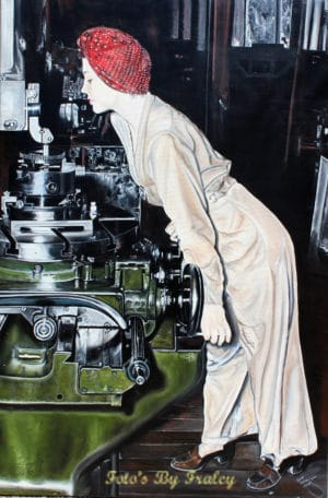 lady at the lathe painting