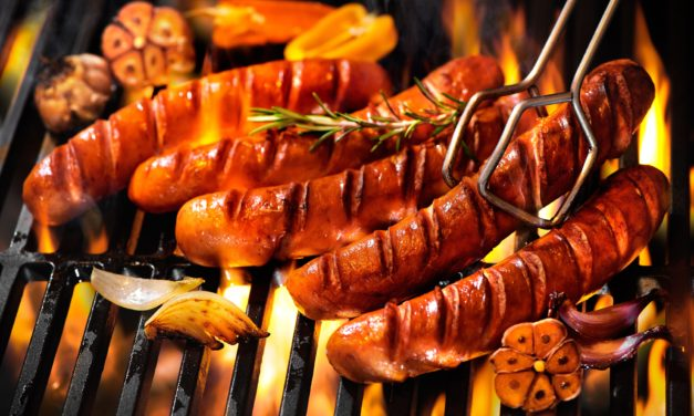 Grilled Bratwurst with Spicy Mesquite Peppers and Onions