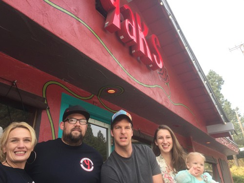 Left to right - Roxanne Friden- Lead Server, Scott Christianson-Executive Chef, Andrew Bettinger-GM and his wife Luarel(baker) and their firstborne Irene...restaurant baby.