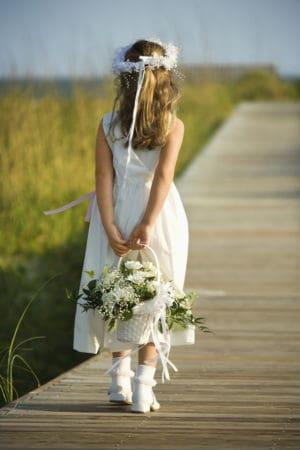 flowers girl on dock